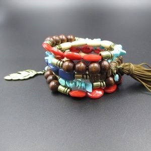 Stretchy Layered Wood Stone & Plastic Bracelet